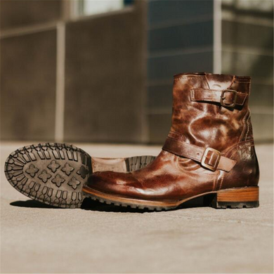 Men's Square   With Belt Buckle Wild Booties