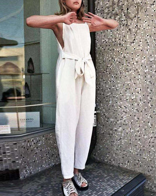 Cotton And Linen Solid Color Halter Strapless Jumpsuit
