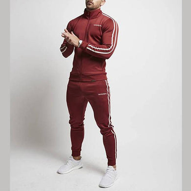 Men's Fashion Sporty Slim Stripe Tracksuit