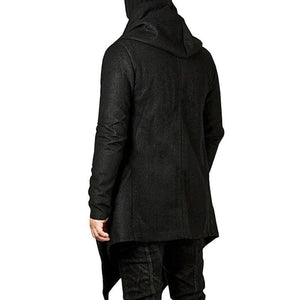 Men's Hooded Irregular Hem Solid Color Jacket
