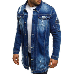 Stylish Solid Color Long-Sleeved Ripped Denim Jacket