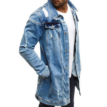 Load image into Gallery viewer, Stylish Solid Color Long-Sleeved Ripped Denim Jacket