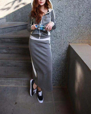 Hooded Sweater Half Skirt Two-Piece Suit