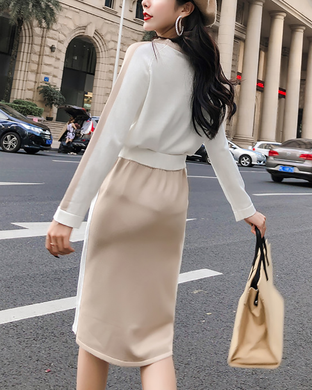 Round Neck Sweater Casual Skirt Suit