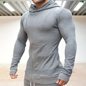 Fitness Solid Color Hooded Zipper Jacket