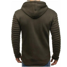 Load image into Gallery viewer, Men's Fashion Solid Color Pleated Zip Hooded Jacket