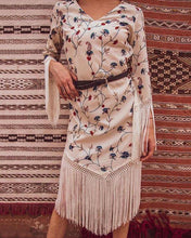 Load image into Gallery viewer, Bohemian Printed Tassel Dress