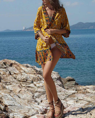 Bohemian Printed Beach Holiday Sunshine Cover Up Dress