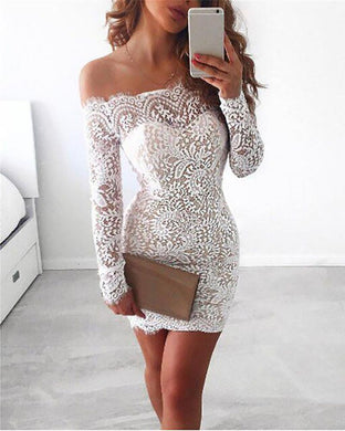 Off-The-Shoulder Lace Stitching Slim Sexy Dress