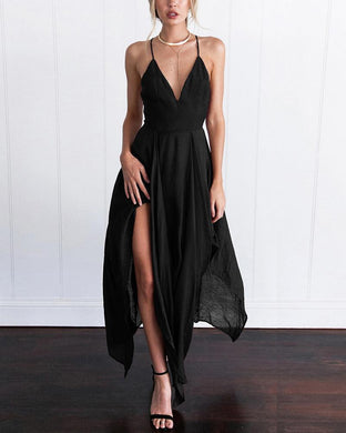 V-Neck Large Swinging Strap Dress