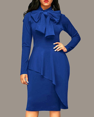 Bowed Ruffled Slim Waist Dress