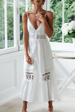 Sexy Solid Color Lace Splicing Hollowed-Out Sling Vacation Dress