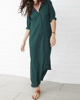 V-Neck Long Sleeve Split Loose Cotton Dress