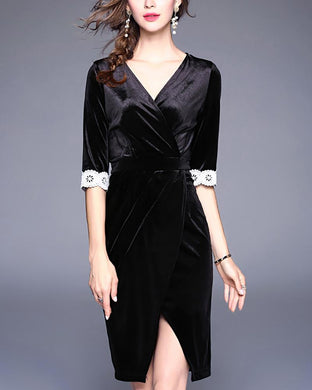V-Neck Ladies Temperament Irregular Dress
