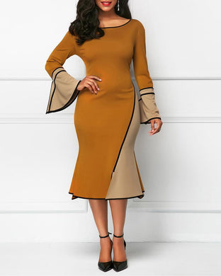 Contrast Stitching Trumpet Sleeves Elegant Dress