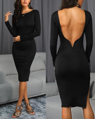 Curved Cut Backless Slim Black Dress