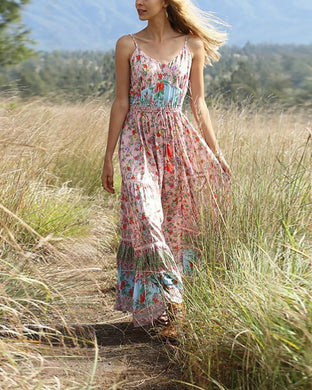 Bohemian Beach Holiday Pleated Print Dress