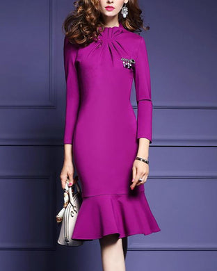 Ruffled Collar Long-Sleeved Slim Fishtail Dress