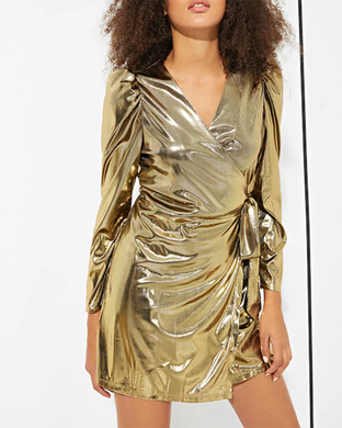 Golden Wild Sexy Gloss Wrap Dress