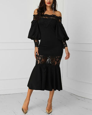 Off-The-Shoulder Lantern Sleeve Lace Panel Perspective Dress