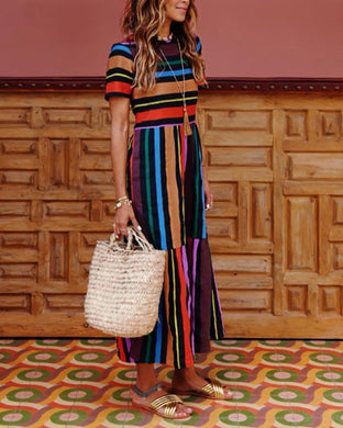 Rainbow Stripe Print Colorblock Holiday Dress