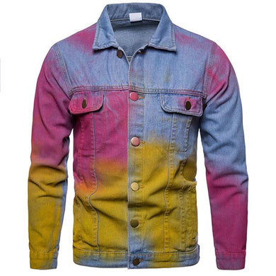 Fashion High Street Style Rainbow Denim Jacket