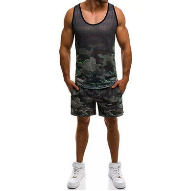 Men's Fashion Camouflage Short Sleeve Tracksuit