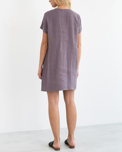 Round Neck Linen Short Sleeve Dress