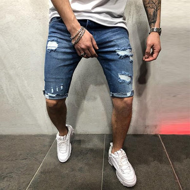 Men's Minimalist Slim Ripped Denim Shorts