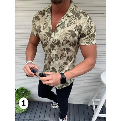 Men's Fashion Palm Leaf Leaf Short Sleeve Shirt