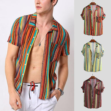 Summer Men's Lapel Striped Colorblock Shirt