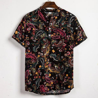 Men's Fashion Print Short-Sleeved Shirt