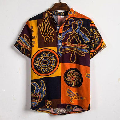 Fashion Printed Colour Short Sleeve Shirt