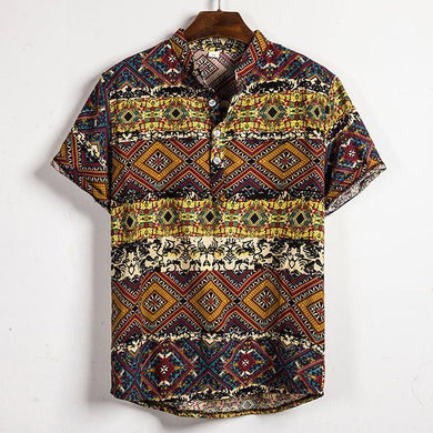 Vintage Floral Pattern Large Size Short Sleeve Shirt