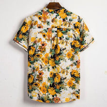 Load image into Gallery viewer, Casual Floral Pattern Splicing Short Sleeve Shirt