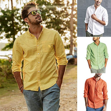 Men's Cotton And Hemp Pure Color  Wear Long-Sleeved Single-Breasted Shirt