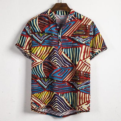 Indian National Style Printed Flax Shirt