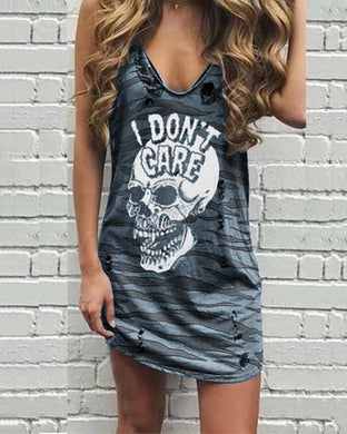 Sexy Sleeveless Sling Print Broken Holes Distressed Dress