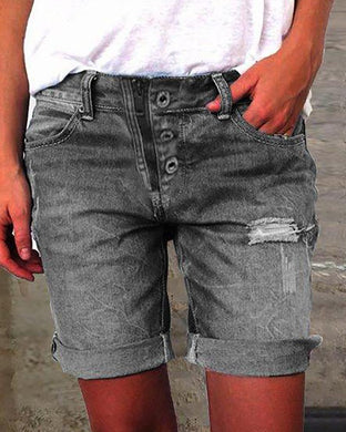Pure-Color Broken-Holes Denim Shorts