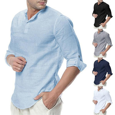 Simple Stand Collar Pure Colour Linen Shirt
