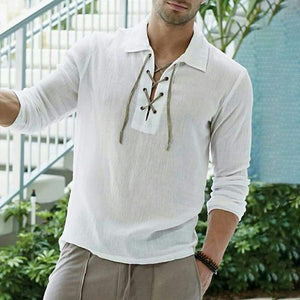 Casual Turndown Collar Tether Pure Colour Shirt