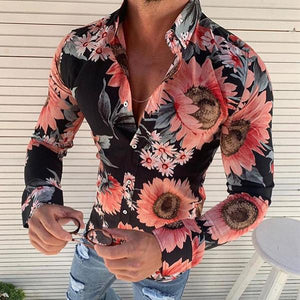 Men's Casual Lapel Long-Sleeved Flower Printed Shirt