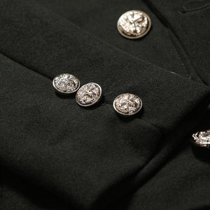 Men's Casual Stand Collar Decorative Button Slim Wool Coat