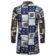 Load image into Gallery viewer, Men's Casual Lapel Single Breasted Long Sleeve Print Long Shirt.