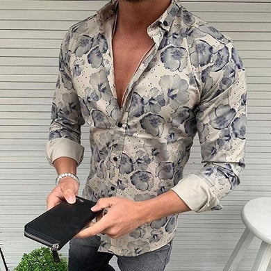 Men's Lapel Single Breasted Long-Sleeved Printing Shirt