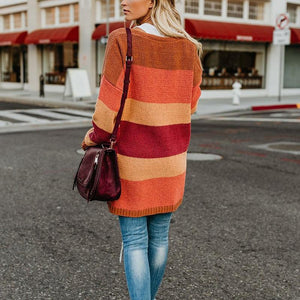 Cute Long Sleeve Colouring Loose Sweater