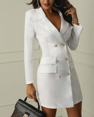 Fashion V-Neck Double-Breasted Blazer Dress