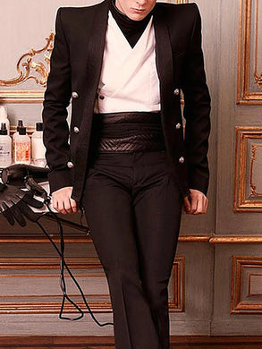 Formal A Lapel Long Sleeve Pure Color Suit