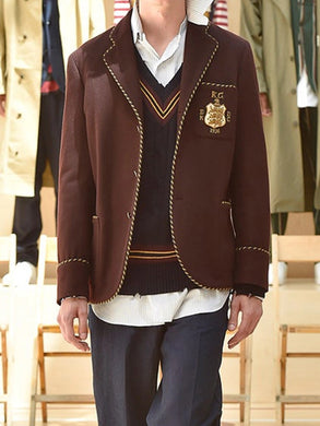 Men's Fashion Preppy Style Badge Suit Jacket