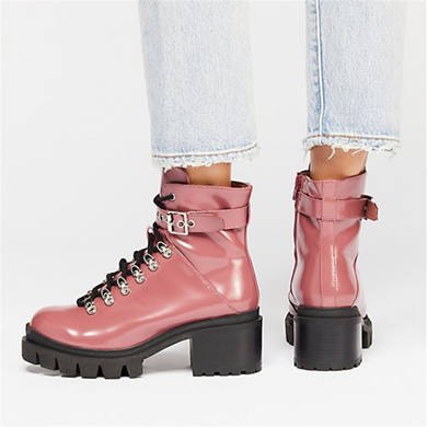 Women's Solid Color Chunky Lace Up Boots